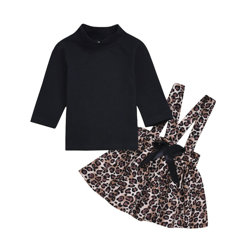 2Pcs Toddler Kids Baby Girls Bow Long Sleeve T-shirt Tops Outfits Clothes Set