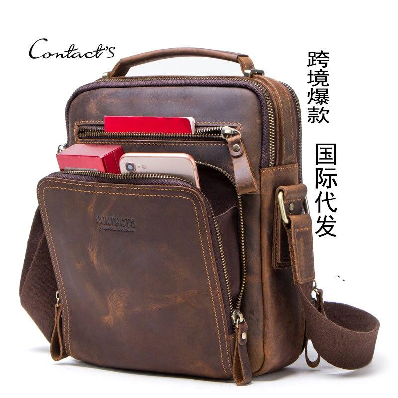 Image 5 - High quality brand crazy horse leather mens shoulder bag vintage  messenger bags men bolsos male crossbody bags mans handbagCrossbody  Bags