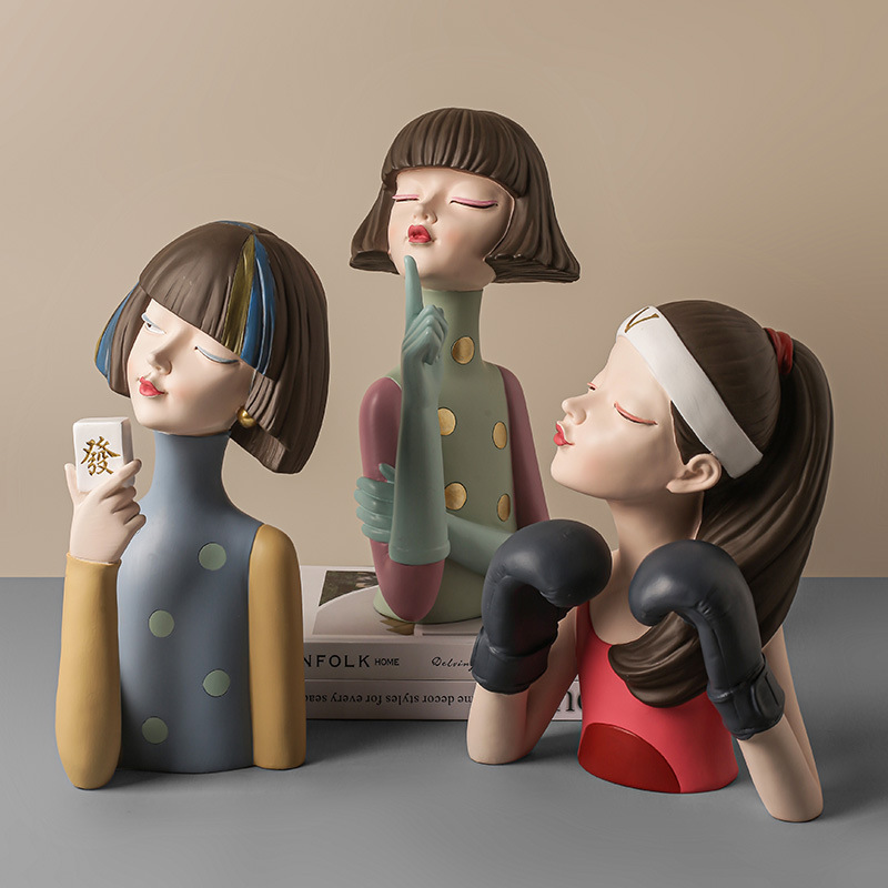 Nordic Home Decor Girl Design Resin Figure Statue Living Room Decor Office Decoration Bedroom Decoration Accessories Girl Gifts