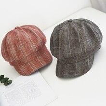 High Quality Retro Art Octagonal Hat For Women Autumn Winter Casual Plaid Artist British Style Berets Woolen Woman Hats