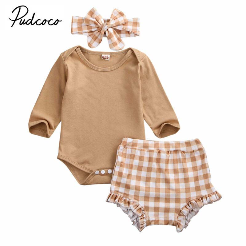 2020 Baby Spring Clothing 3PCS Newborn Infant Baby Girl Long Sleeve Tops Romper+Plaid Shorts Headband 3pcs Outfit Clothes
