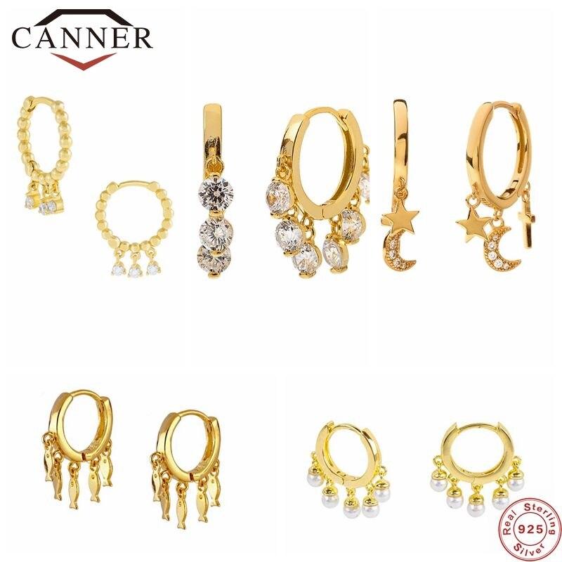 Canner real 925 brincos de argola de prata esterlina para mulheres luxo zircão círculo redondo brinco moda brincos jóias pendientes