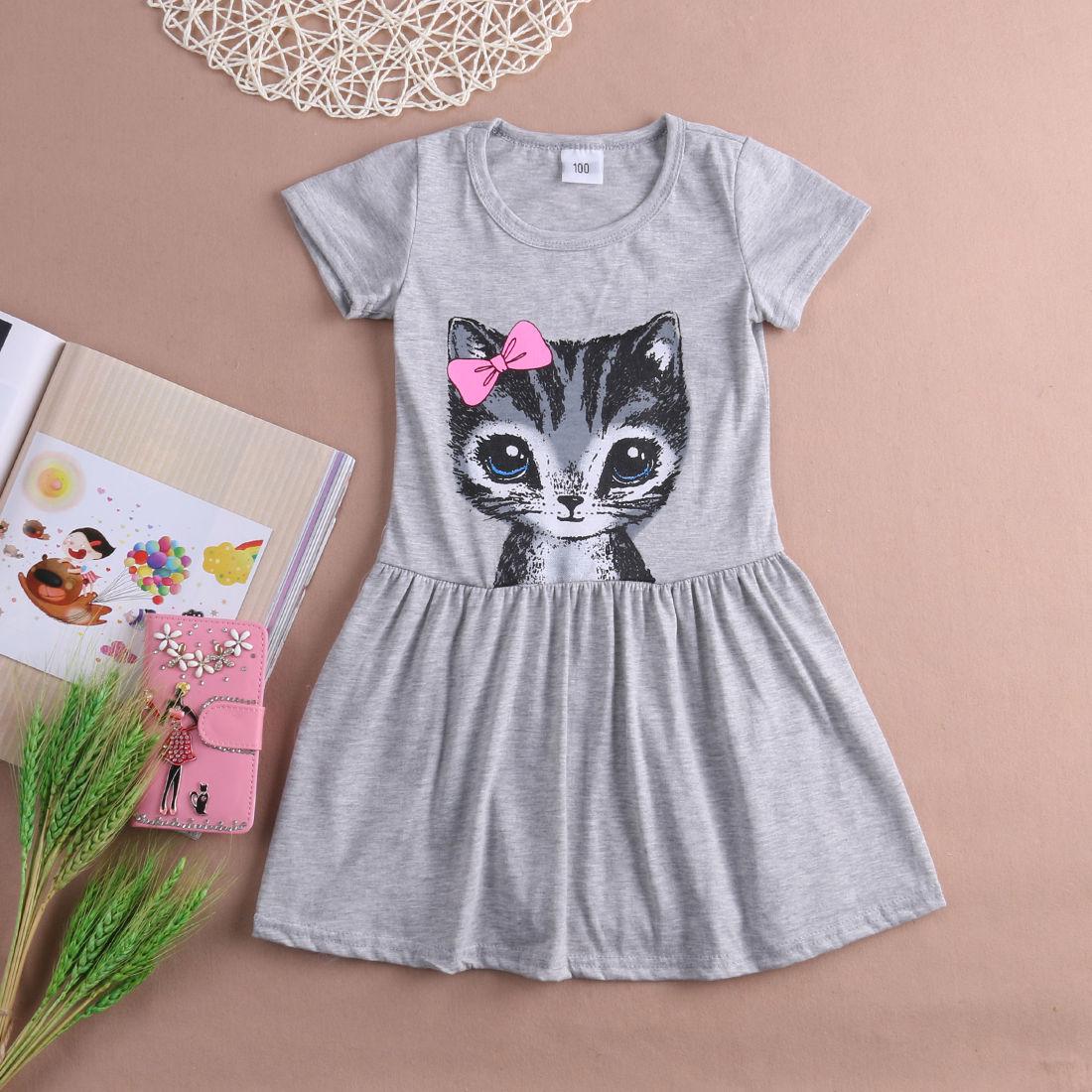 2-8 Year Kids Baby Girl Clothes Print Cartoon Cat Kitty Princess Dresses Little Girls Tutu Party Wedding Summer Dress