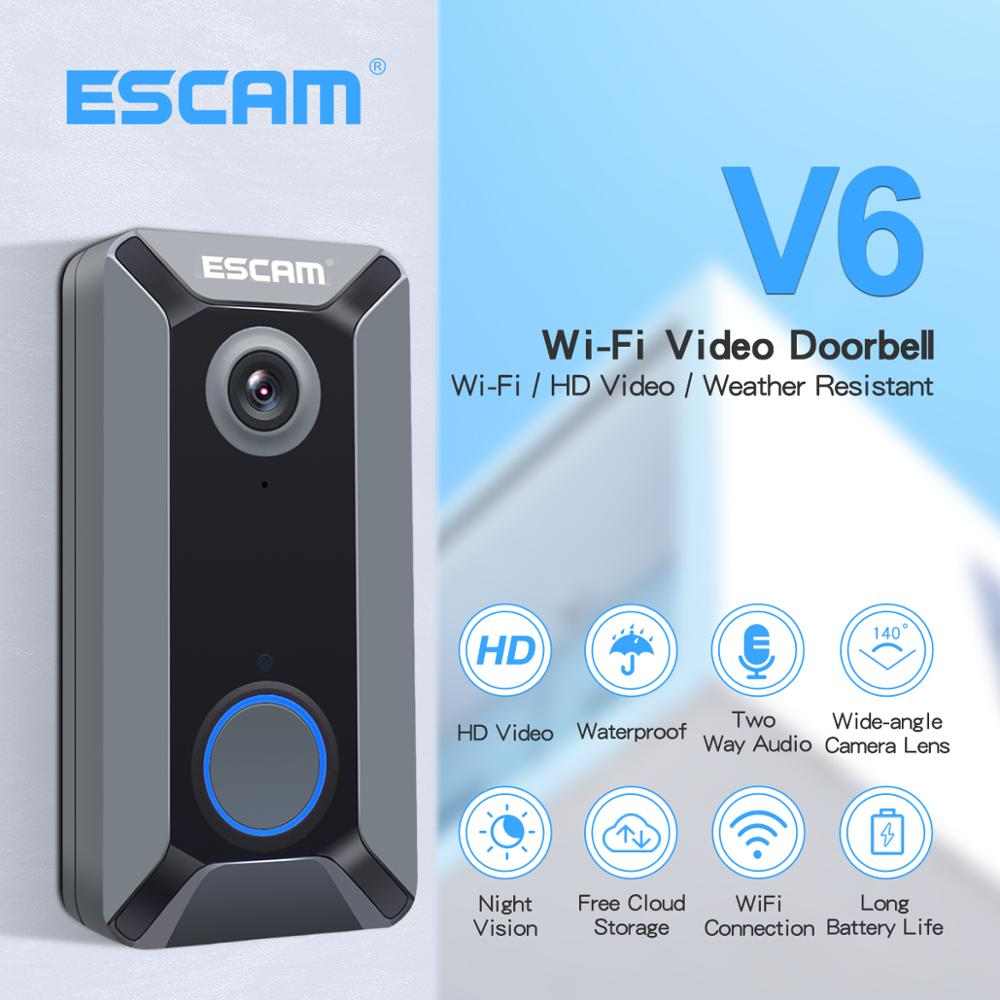 ESCAM V6 WiFi Video Doorbell 720P Wireless HD Video Intercom Camera Two-way Audio Free Cloud Storage For Home Security