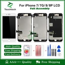 Полный дисплей Pantalla lcd для iPhone 7 8 7 Plus 3D сенсорный дигитайзер сборка экран Замена+ фронтальная камера+ подарки полные части