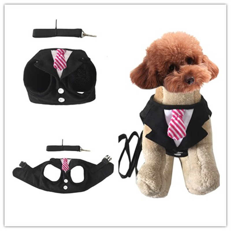 New Style Pet's Chest-back Vest Style Dog Chest Strap With Hand Holding Rope Gentleman Small Suit Holiday Formal Dress