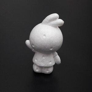Conejo animado liso de espuma Artificial de 10 Uds./15x9x8cm, conejo de espuma de poliestireno dibujado a mano para DIY, decoración de hogar, fiesta de boda