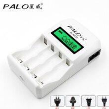 Умное зарядное устройство PALO с белым ЖК-дисплеем, с 4 слотами для аккумуляторов AA/AAA, NiCd и NiMh