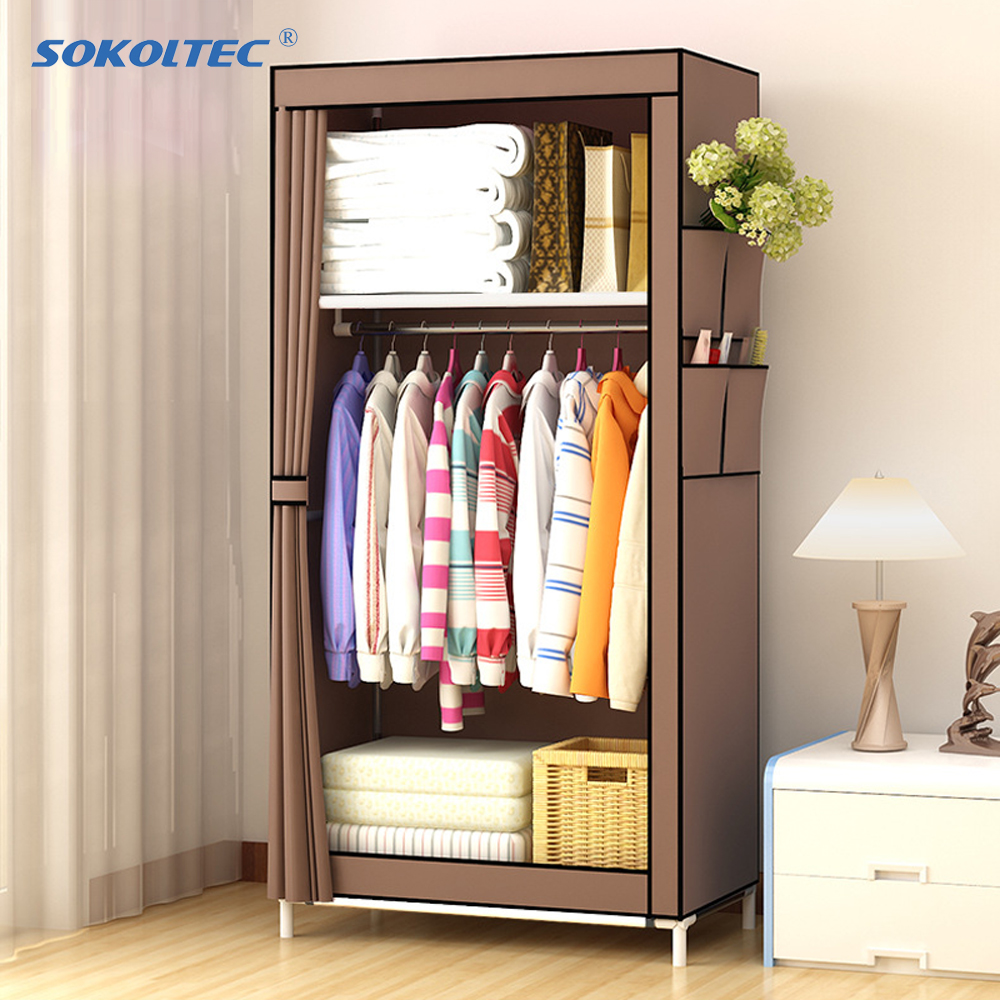 Fast Dispatch Sokoltec Wardrobe DIY Non-woven Fold Portable Storage Cabinet Multifunction Dustproof Moistureproof Closet title=
