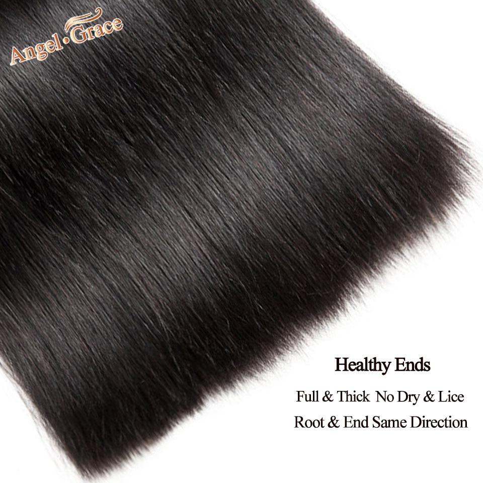 H31287d13ac834eecb7973ee3c072a4e8j Angel Grace Hair Brazilian Straight Hair Bundles With Transparent/HD Lace Closure Remy Human Hair Weave 3 Bundles With Closure