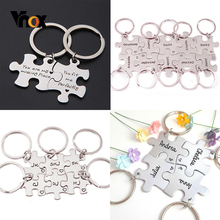 Vnox Free Combination Glossy Puzzle Stainless Steel Kay Chain Personalize Unisex BFF Best Friend Fmiliy Couple Unique Key Ring
