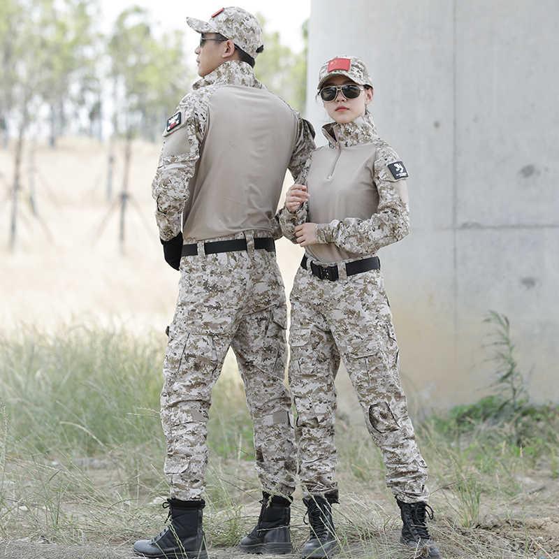 """טקטי צבאי אחיד לחימה מרובה חולצה + מכנסיים מרפק הברך רפידות ארה""""ב צבא צבאי הסוואה חליפת ציד בגדים"""