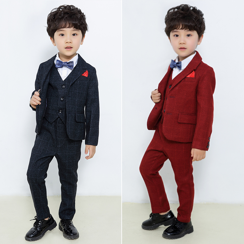 Autumn Formal Kids Boys Suits Baby Boy Clothes Suit For Wedding Tuxedo Teenage Party Clothing 3 Pcs/set Plaid Children Cost