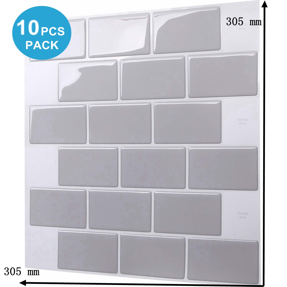 Vividtiles 12*12 Inch <font><b>3D</b></font> Light Grey Brick Sticker Easy to DIY Self Adhesive Wallpaper Waterproof Peel and Stick Tiles - <font><b>1</b></font> Sheet image