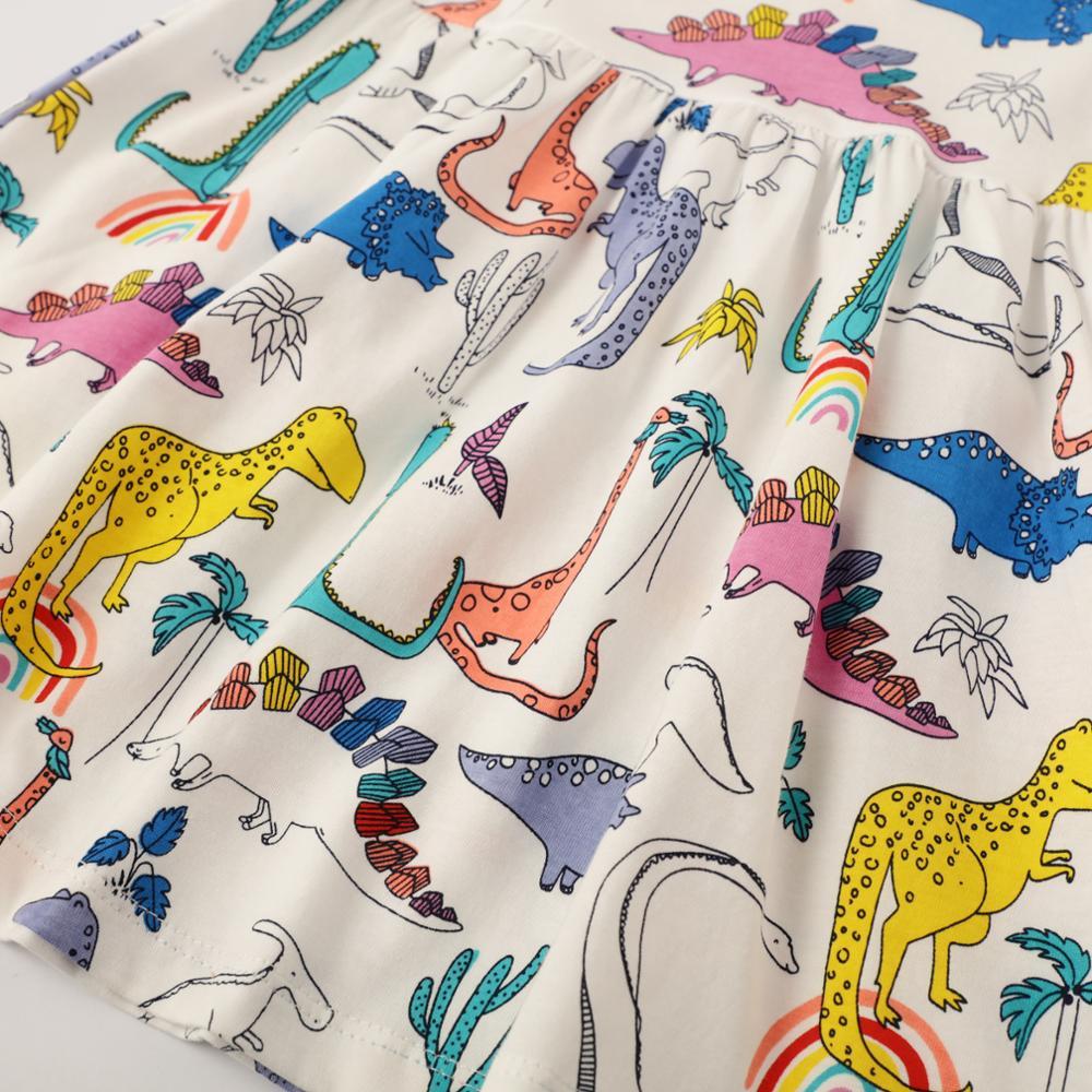 SAILEROAD Dinosaur Print Girls Summer Dress Cotton Animal Applique Baby Kids Short Sleeve Dresses Little Girls Clothes Vestidos 3