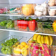 Refrigerator Organizer Bins Stackable Fridge Organizers Cutout Handle Clear Seal Plastic Pantry Household Food Storage Rac