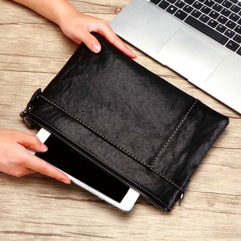 Genuine Leather Clutch Men Purses Passport Bag Soft Leather Handbags Mens Clutches Bags Cell Phone Pocket Large Capacity Wallet
