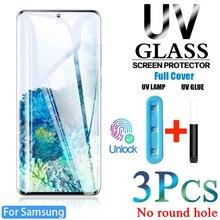 3 шт. УФ защитное закаленное стекло на экран для Samsung S21 ультра S10 Plus протектор экрана из закаленного стекла S8 S9 5G E S20 ультра Note 8, 9, 10, 20 S Note8 без к...