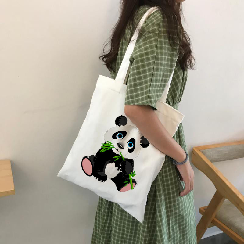 Panda Cartoon Cute Animal Print Ladies Handbags Canvas Tote Bag Shopping Travel Women Eco Reusable Shoulder Bags Bolsas De Tela