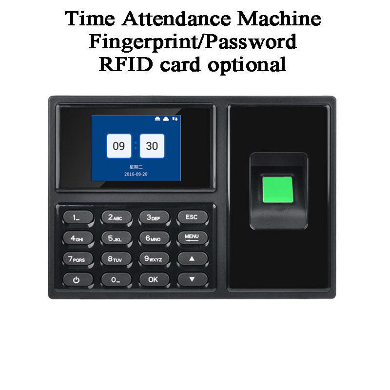 Biometric Fingerprint Code Password DC5V Office Employee Time Attendance Machine USB U Disk TCP/IP French Japanese RFID Card