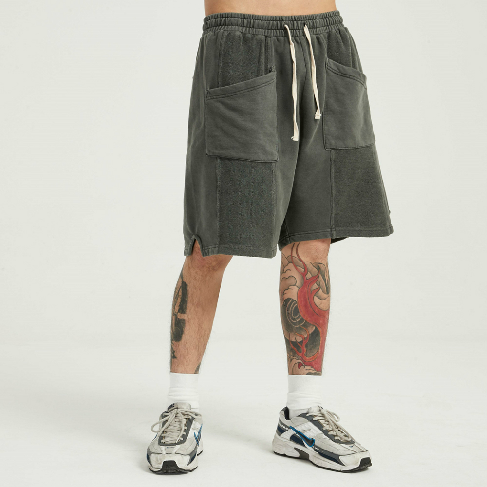 Garment-Washed Cotton Sweat Shorts Reversed Cotton Terry Jogger Four Color