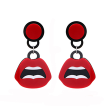 NJ Exaggerate Big Mouth Red Lip Drop Earring New Fashion Night Club White Teeth Party For Girls Gift Jewelry