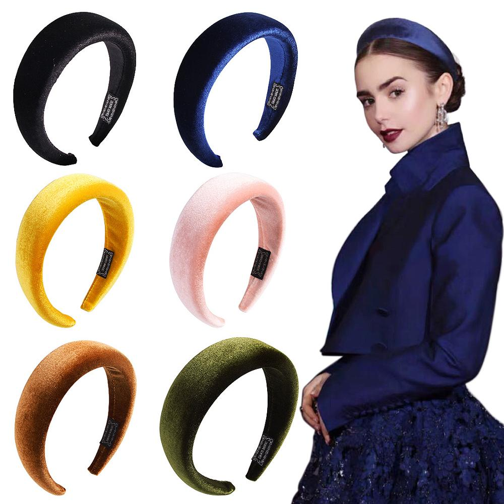 Fashion Solid Thicken Padded Hairbands Bezel For Women Girls Sponge Velvet Headbands Hair Hoop Girls Hair Accessories Headwear