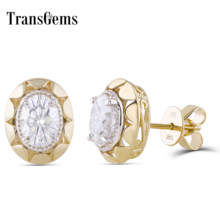 Transgems Vintage 14K 585 Yellow Gold 2CTW 6*7mm Oval F color Moissanite Stud Earring with Push Back for Women Fine Earrings