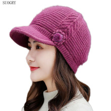 SUOGRY  Women Beret Hat Knitted Wool Natural Rabbit Rur Solid Colors Winter Casual 2019 New Top Quality Cap