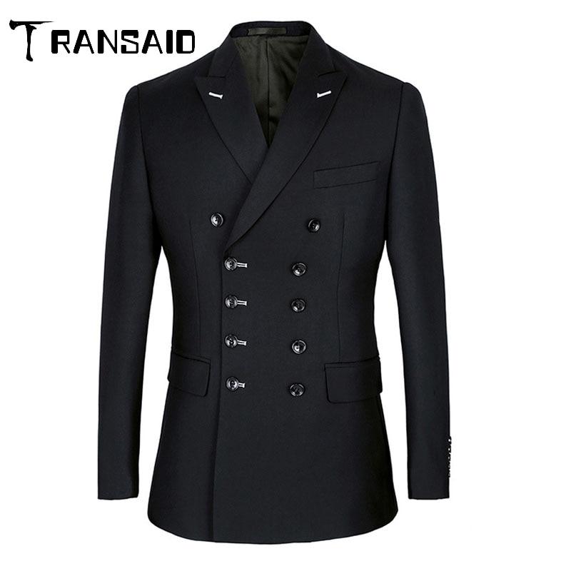 Men Suits Slim Fit Suit Blazer Double Breasted Peak Lapel Navy Blue Black Wedding Suit Groom Party Prom Skinny Costume Tuxedo