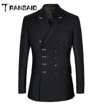 Men Suits Slim Fit Suit Blazer Double Breasted Peak Lapel Navy Blue Black Weddin