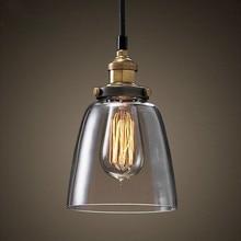 Lámpara colgante de cristal ámbar Simple transparente E27 sala de estar comedor costura moderna accesorios de iluminación decoración de desván luces colgantes