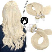 Hair Extensions Micro Ring Machine Remy Microbead Hair Extensions #60 Platinum Blonde Micro Loop Extensions 100% Human Hair 50G