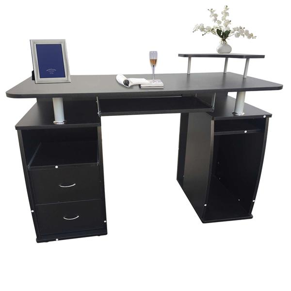 Integrated Melamine Board Computer Desk With Drawers Black This Product Will Be Split Into Two Packages Office Desk Study Table.