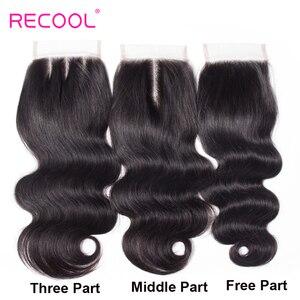 Image 5 - Recool cabelo onda do corpo pacotes com fechamento remy cabelo 6x6 e 5x5 pacotes com fechamento peruano cabelo humano 3 pacotes com fechamento