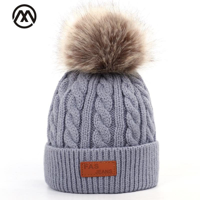 Fashion Cute Children Winter Hat Pom-pom Leather Knit Hat Boy Girl Winter Warm Cotton Hat Baby Fun Hat High Quality Cotton Beans