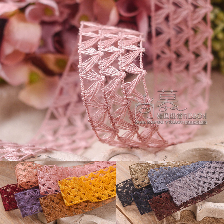 100yards <font><b>16</b></font> 25 38mm <font><b>V</b></font> shaped hollow out mesh lace ribbon for garment underware accessories hair bow diy craft supplies image