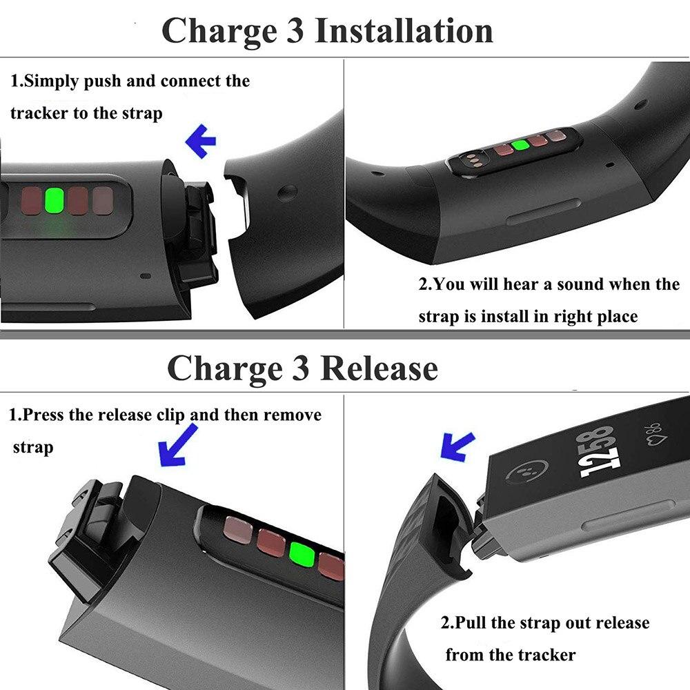 Ремешок силиконовый для fitbit charge 3 4 сменный спортивный