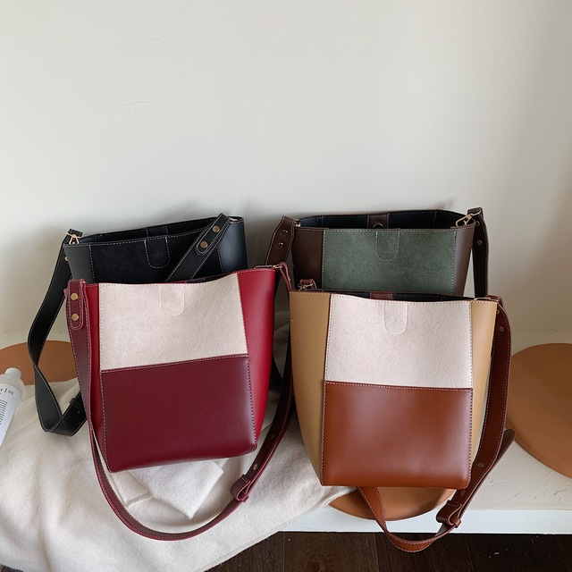 Contrast Color PU Leather Crossbody Bags For Women 2019 Quality Bucket Bag Lady Shoulder Messenger Bag Female Handbags ladies