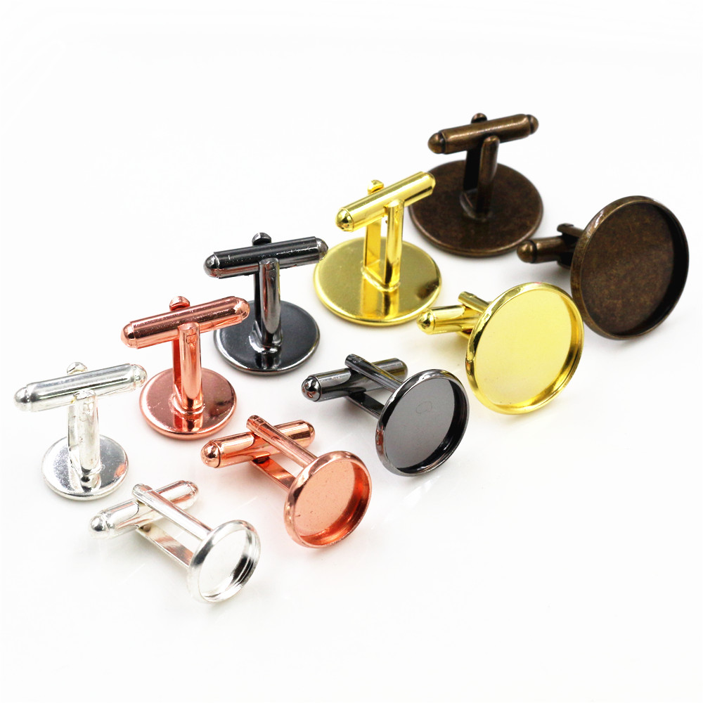 10pcs/ Lot 10mm 12mm,14mm,16mm,18mm,20mm, 6 Colors Plated Copper Cufflink Base Cuff Link Settings Cabochon Cameo Base
