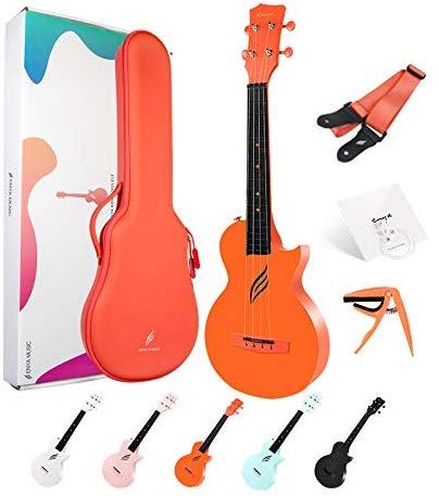 "Enya Nova U Concert Ukulele 23"" Cutaway Carbon Fiber Beginner Travel Ukulele Kit Waterproof Ukelele With Case/Strap/Capo/Strings"