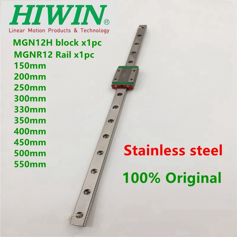 1pc HIWIN Stainless Steel linear rail MGN12 250 300 330 350 400 450 500 550 mm guide + 1pc MGN12H slide block for 3D Printer CNC