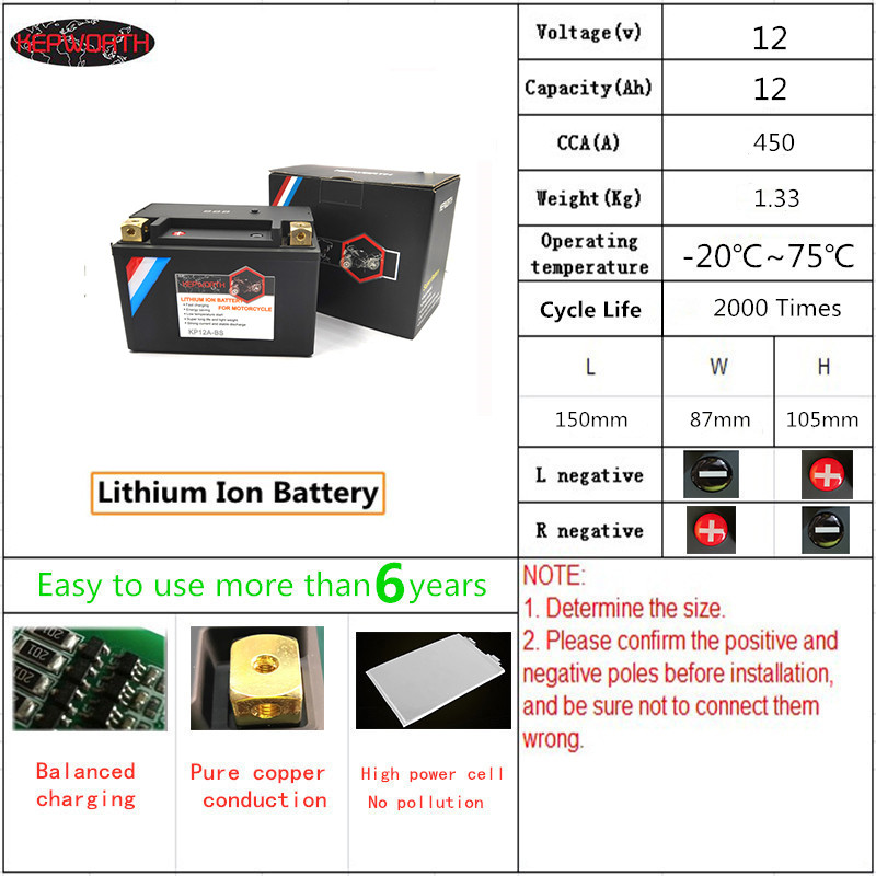 KP12A-BS KP12-BS 12V 12Ah CCA 450A Motorcycle LiFePO4 Battery Jump Starter Lithium iron Motorbike Battery with BMS Board(China)