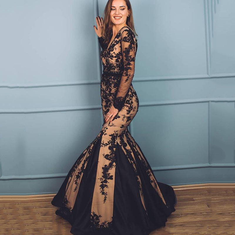 Eightree Black Lace 2020 Evening Dress Deep V-neck Long Sleeves Mermaid Prom Dresses Sexy Formal Party Gown Robe De Soiree