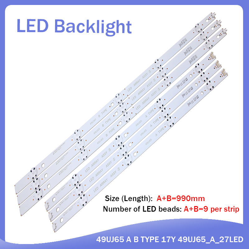 New Kit 6 PCS LED Backlight Strip For LG 49UJ701V 49UJ65 A B TYPE 17Y 49UJ65_A_27LED 49UJ65_B_27LED EAV632632404
