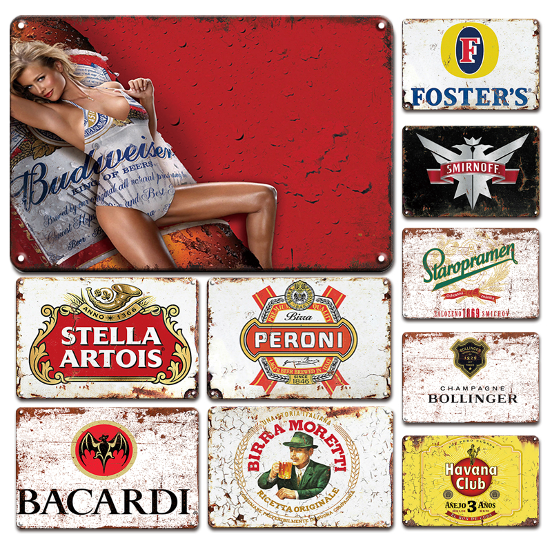 Vintage Beer Brand Poster Metal Tin Sign European Retro Home Bar Decoration Iron Painting Personalized Pub Club Industrial Decor