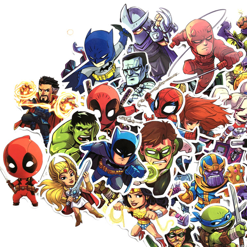 50 Pcs Super Hero Avengers Cartoon Sticker For Waterproof For Skateboard Laptop Moto Guitar Luggage Furnitur Decal Toy Stickers