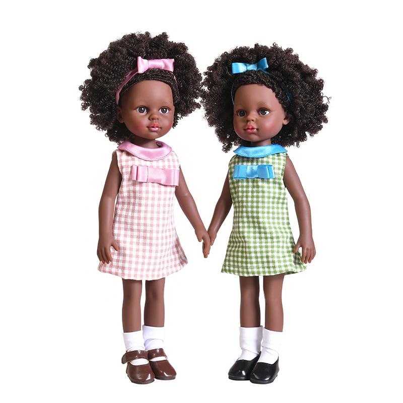 35cm African Black Freckle BJD Dolls Girl Reborn Doll for children Full Silicon African American Dolls Explosion Head Child Toys