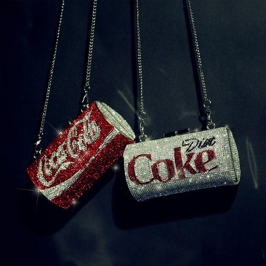 Kreative Dosen Diamanten Frauen Schulter Taschen Designer Cola Können Form Ketten Weiblichen Umhängetaschen Chic Damen Abend Kupplung Handtasche