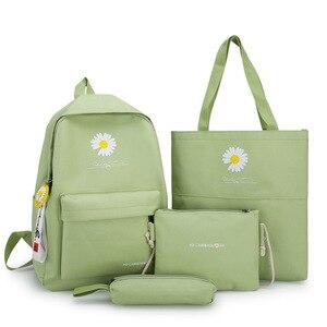 4 Piece Set Junior High School Bags For Teenage Girls Canvas Student Schoolbag High Capacity Women Backpack Daisy Print Bookbags